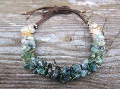 Jaspe vert collier pierres précieuses pierres par JaneRJewelry