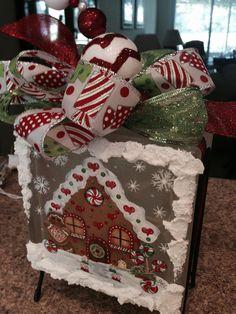 Arts And Crafts Joann Painted Glass Blocks, Decorative Glass Blocks, Lighted Glass Blocks, Hand Painted, Gingerbread Crafts, Gingerbread Decorations, Christmas Decorations, Gingerbread Man, Christmas Glass Blocks