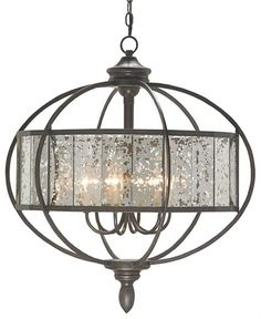 CURREY & COMPANY - Florence Chandelier - Finished to have transparency and the intermittent patterns of mercury glass, the Florence Chandelier is a beautiful combination of metal work and mirror.