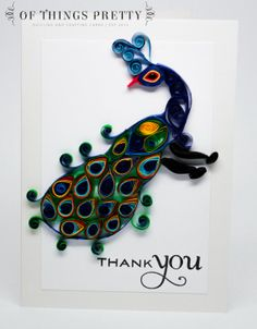 Thank You Card  Peacock card  Wedding Thank you #quilling #handmade for $9.50
