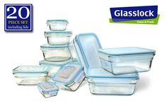 Amazon.com: New Snaplock Lid: Tempered Glasslock Storage Containers 20pc set~Microwave & Oven Safe: Home & Kitchen
