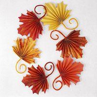 Folded paper leaves
