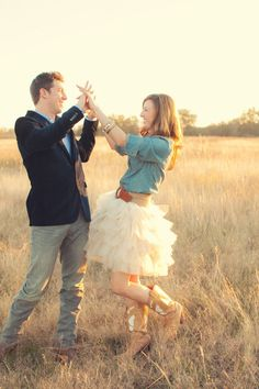 Engagement shoot in boots and a tutu. Photography By / brittneymelton.com