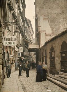 "back-then: "" Judengasse, Vienna Austria, 1913 Photo: Albert Kahn "" Scenery Pictures, Old Pictures, Old Photos, Albert Kahn, Somewhere In Time, Austro Hungarian, World Cities, Salzburg, Travel Goals"