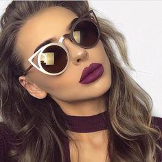 2017 New Women Sunglasses Vintage Cat Eye Sun glasses Metal Eyeglasses Frames Mirror Shades Sexy Sunnies