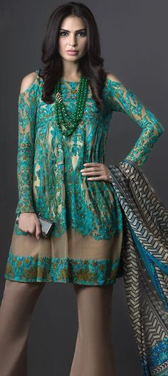 459569 Beige and Brown, Blue  color family Party Wear Salwar Kameez in Faux…