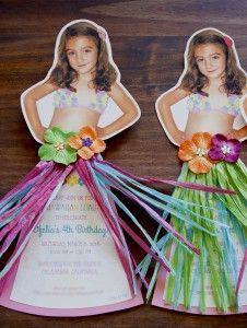 Hawaiian Luau Kids Party Invitation