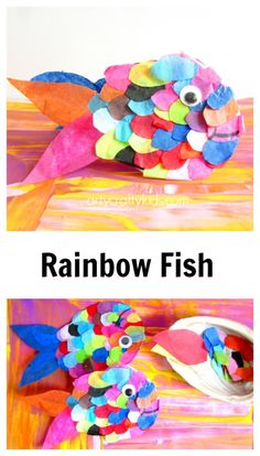 Tissue Paper Rainbow Fish Arty Crafty Kids Craft Craft Ideas For Kids Tissue Paper Rainbow Fish Easy Preschool Crafts, Easy Arts And Crafts, Toddler Crafts, Tissue Paper Crafts, Paper Crafts For Kids, Projects For Kids, Book Crafts, Art Projects, The Rainbow Fish