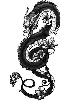 dragon tattoo drawings | Flower dragon tattoo by griffling on deviantART