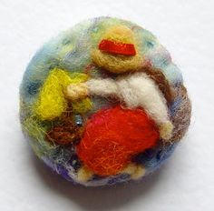Needle felted brooch pin wool 'Girl with Sail by iwantcraft, £6.50