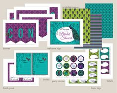 Peacock Bridal Shower Printable Set: Party Kit by DesignedByMaria Peacock Cupcakes, Elegant Bridal Shower, Shower Banners, Party Kit, Bridal Shower Decorations, Printable Paper, Favor Tags, Thank You Cards, Your Cards