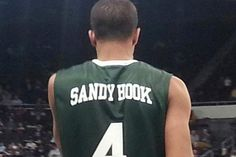 Josh Fortune shows off Providences jerseys in honor of Sandy Hook Elementary School (photo via FriarBlog)