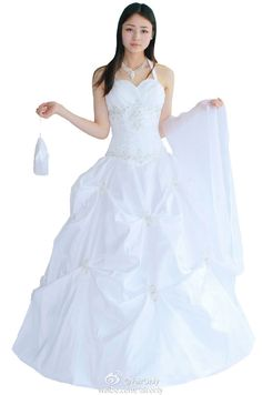 Faironly  Halter Wedding Dress Bridal Gown Shawl Bag Stock Size 6 8 10 12 14 16