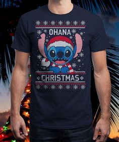 """""""Ohana Christmas"""" is today's £9/€11/$12 tee for 24 hours only on www.Qwertee.com Pin this for a chance to win a FREE TEE this weekend. Follow us on pinterest.com/qwertee for a second! Thanks:)"""