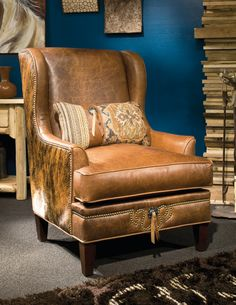 Merveilleux Rodeo Cowhide And Leather Wing Chair