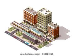 Vector Isometric icon or infographic element representing low poly urban elevated train railway with trains, station building, nearby street houses, and city public transport - cars, taxi and bus