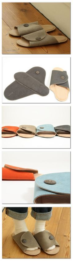 It is a slipper made of the Awasefu. It is not bulky when it becomes flat when I take off the button, you plan to carry with you. Into the net, it can be washed in a washing machine, you can use it...