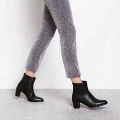 Block Heel Ankle boot Black