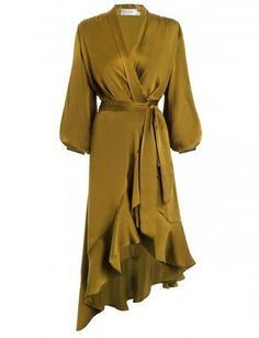 Wrap Flounce Dress, from our Fall 17 collection, in Mustard sueded silk. Robe dress with wrap front detail, blouson sleeves with buttoned cuffs, and flonced ruffles throughout asymmetric skirt hem. Silk Midi Dress, Ruffle Sleeve Dress, Long Sleeve Mini Dress, Sleeve Dresses, Frilly Dresses, Satin Dresses, Wrap Dresses, Midi Dresses, Wrap Dress Short