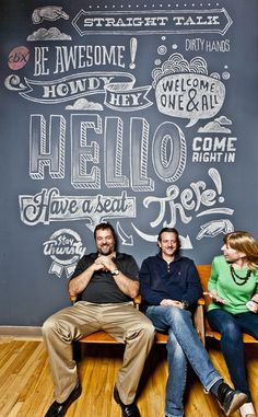 love the chalk lettering. so fun and playful on a huge wall. great use of different letterforms and decoration