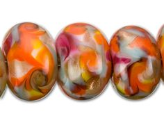 Grace Lampwork Red and Orange Mesa Play day Roundel Bead Strand (7 pcs)