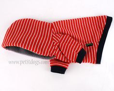 Dog Clothes XS Nautical Red stripe Dog hoodie by PetitDogApparel, $27.00
