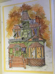 I Used water color markers on  the Mansion & overlay. The Halloween Overlay ghost  is part of the overlay.  leaves stamp to make the tree behind the mansion. Overlay set & Mansion is made by Art Impressions Rubber Stamps, items can be purchased in my ebay Store Pat's Rubber Stamps & Scrapbooks or call me 423-357-4334 and place an order, or come by 1327 Glenmar Ave. Mt Carmel, TN 37645, We take PayPal. You get free shipping with the phone orders of $30.00 or more