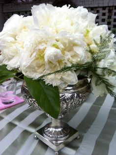mother's day white flower arrangement