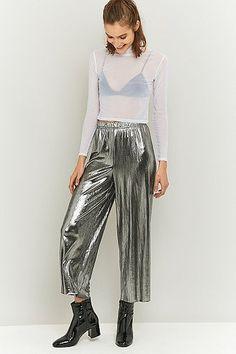 Light Before Dark Metallic Silver Pleated Trousers