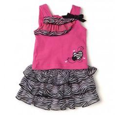 Newborn Ruffled Zebra Print  Top and Tiered Skort