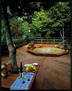 like this one -think it could work with maybe wood decking inside ... - Spa Patio Ideas