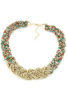 Vintage Multi-Strand Weave Beaded Necklace