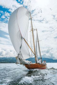 """""""Elfe II"""". Dr Andi Lochbrunner has sailed eights since 1964 starting on """"Bayern II"""" owned by his Club in Lindau. In 1985 Andi acquired his """"Elfe II"""" and has beautifully restored her over the years as well as actively raced her."""