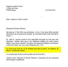 Extrait de la lettre de refus, adressée à Manuel Valls, par Camille Senon. La syndicaliste française de 91 ans, en soutien aux manifestants, a tout simplement refusé de recevoir l'Ordre national du mérite.