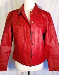 Womens Red Leather Jacket Metrostyle size 10 Medium Retro vintage #Metrostyle #Leatherjacket #Casual