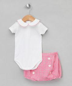 Fushchia Trim Onesie & Bloomer Set with Pearl Buttons - Infant by Mariella Ferrari on #zulilyUK today!