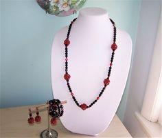 Vintage Rhinestone Crystal Black & Red Necklace Bracelet Earrings Set #Unbranded