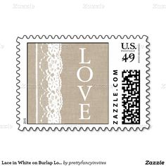 Lace in White on Burlap Love Stamp
