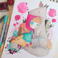 Lydia Sánchez || Illustration: ILLUSTRATION WITH MARKERS - LITTLE RED