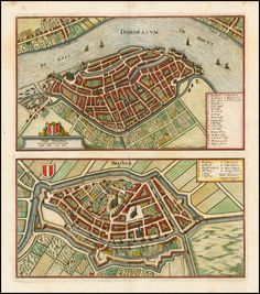 Dordrecht and Briel, from Merian's Neuwe Archontologica Cosmica 1638 - Barry Lawrence Ruderman Antique Maps Inc.