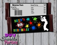 Printable PAINTBALL CANDY Bar WRAPPERS by ShinySparklyParties