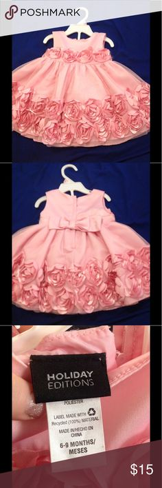 Beautiful pink dress baby girl Holiday editions, size 6-9 months, pink flowers on dress along with pretty tulle. 💖 Dresses Formal