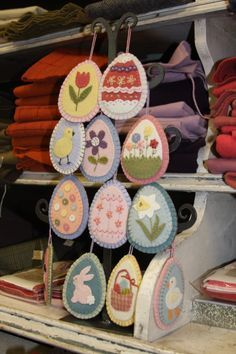 Cute felt Easter eggs. These are a set that come in a kit from American Quilting - I've seen them in person and they're delicious.
