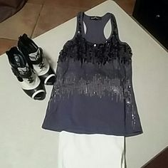 Top Sequin charcoal Almost Famous Tops