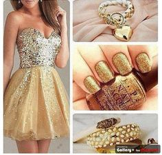 gold outfit.