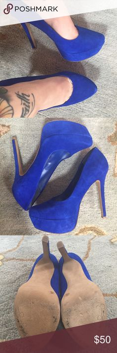 Jessica Simpson Waleo Platform Pumps These are a pair of beautiful blue suede platform pumps! Only worn ONCE for a wedding. In great condition! Jessica Simpson Shoes Heels