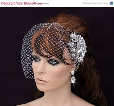 SALE Crystal Comb and Birdcage Veil , Bird Cage Veil , Bridal Comb ,  Wedding Comb , Bachelorette Blusher , Bridal Hair Accessory , Crystal on Etsy, $64.00