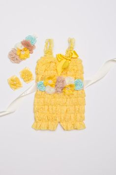 Yellow Lace Romper set Birthday Outfit Lace baby by BabyBouteek