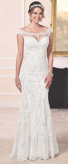Elegant Tulle Off-the-Shoulder Neckline Sheath Wedding Dresses with Lace Appliques