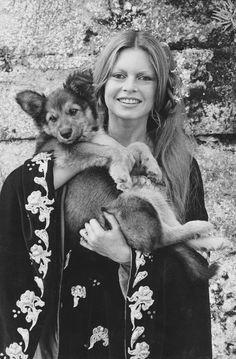 "Brigitte Bardot on the set of ""The Edifying and Joyous Story of Colinot"" (1973)"